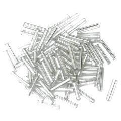 Silver long bugle glass beads - Hobby & Crafts