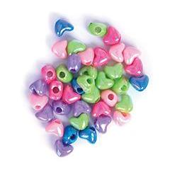 Craft Factory Hearts Assorted Plastic Pastel Coloured Beads - 20 grams - Hobby & Crafts