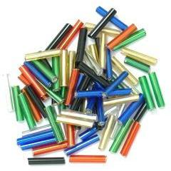 Multicolour long bugle glass beads - Hobby & Crafts