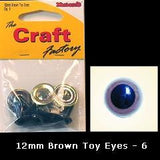 Minicraft  Eyes 12mm Brown - Hobby & Crafts