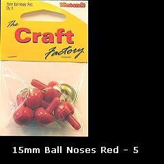 Minicraft Ball Noses 15mm Red - Hobby & Crafts
