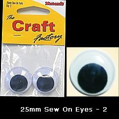 Minicraft Sew On Soft Toy Eyes 25mm Black - Hobby & Crafts