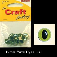 Minicraft Cats Eyes 12mm - Hobby & Crafts