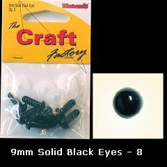 Minicraft Solid Plastic Soft Toy Eyes/Washers 9mm Black - Hobby & Crafts