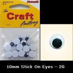 Minicraft Goo Goo Stick On Moving Eyes 10mm - Black - Hobby & Crafts