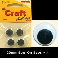 Minicraft Sew On Soft Toy Eyes 20mm Black - Hobby & Crafts