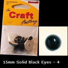 Minicraft Solid Plastic Soft Toy Eyes/Washers 15mm Black - Hobby & Crafts