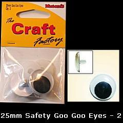Minicraft Goo Goo Sew On Eyes -25mm - Hobby & Crafts