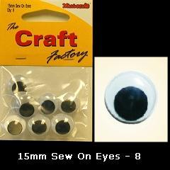Minicraft Sew On Soft Toy Eyes 15mm Black - Hobby & Crafts