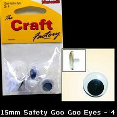 Minicraft Goo Goo Sew On Eyes -15mm - Hobby & Crafts