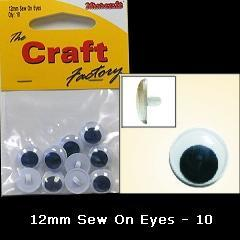Minicraft Sew On Soft Toy Eyes 12mm Black - Hobby & Crafts