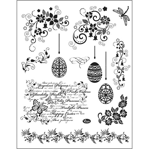 Viva Decor Transparent Silicone Easter Eggs Borders Motives Stamp Sheet To Paint Decorate - Hobby & Crafts