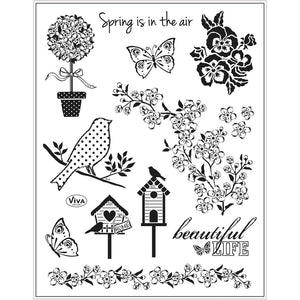 Viva Decor Transparent Adhesive Silicone Springtime Motives Stamp Sheet To Paint Decorate