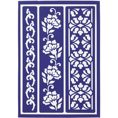 Viva Decor Flowery Borders Flexible Self Adhesive Stencil Sheet For Paper Wood Crafts - Hobby & Crafts