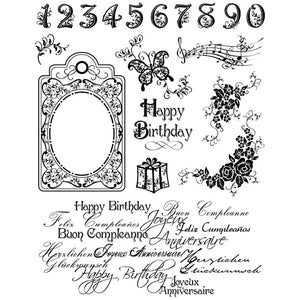 Viva Decor Transparent Silicone Happy Birthday Motives Stamp Sheet To Paint Decorate Crafts