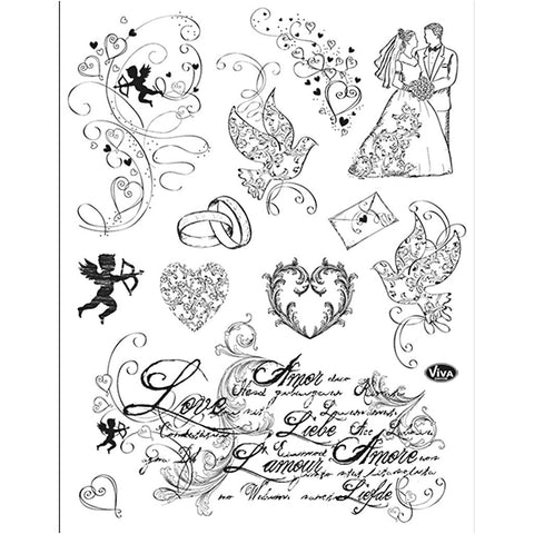 Viva Decor Transparent Adhesive Silicone Love Motives Stamp Sheet To Paint Decorate Craft