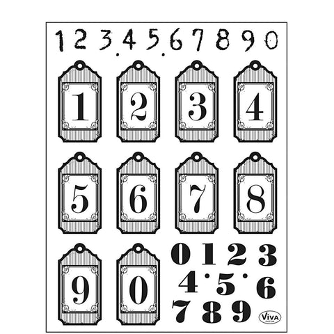 Viva Decor Transparent Silicone Numbers Motives Stamp Sheet To Paint Decorate Crafts 18 cm - Hobby & Crafts