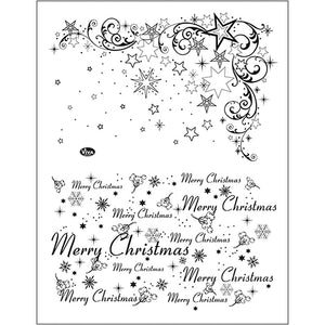 Viva Decor Transparent Silicone Merry Christmas Star Motives Stamp Sheet To Paint Decorate