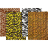 Assorted Sheets of Semi-Transparent Decoupage Papers - 4 Designs - Animal Prints - Hobby & Crafts