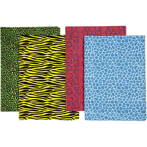 Assorted Sheets of Semi-Transparent Decoupage Papers - 4 Designs - Animal Prints Coloured - Hobby & Crafts