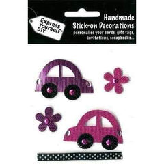 Express Yourself DIY Handmade Stick On Decoration - Pink Cars & Flowers - Hobby & Crafts