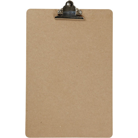 A4 Dark Brown MDF Clipboard With Metal Clip 23cm x 34cm Writing Drawing Accessories