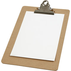 A5 Dark Brown MDF Clipboard With Metal Clip 19cm x 27cm Writing Drawing Accessories