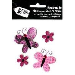 Handmade Stick On Decoration - Butterflies & Flowers - Hobby & Crafts