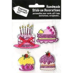 Handmade Stick On Decoration - Birthday Cake & Cupcake - Hobby & Crafts