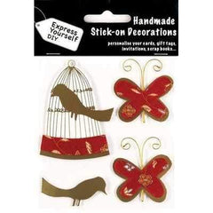 Express Yourself DIY Handmade Stick On Decoration - Butterflies & Birdcage - Hobby & Crafts