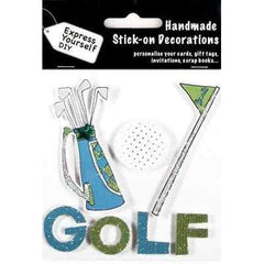 Handmade Stick On Decoration - Golf Lettering Bag Ball & Flag - Hobby & Crafts