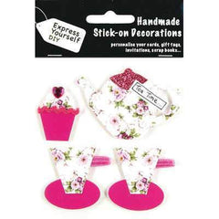 Handmade Stick On Decoration - Floral Tea Time & Cupcake - Hobby & Crafts