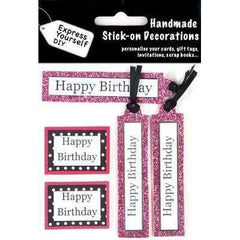 Handmade Stick On Decoration - Birthday Caption Banners Pink - Hobby & Crafts