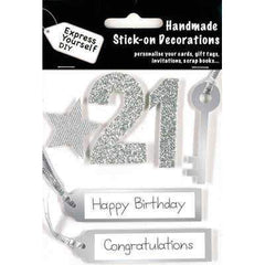 Handmade Stick On Decoration - 21st Birthday - Hobby & Crafts