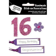 Express Yourself DIY Handmade Stick On Decoration - 16th Pink - Hobby & Crafts