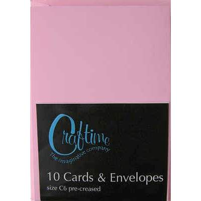 Crafttime C6 10 Pre-Creased Cards And Envelopes - Pink - Hobby & Crafts