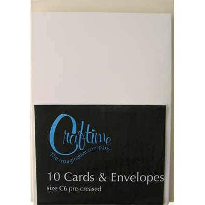 Crafttime C6 10 Pre-Creased Cards And Envelopes - Cream - Hobby & Crafts