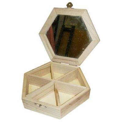 Wooden Hexagonal 5 Compartments With Mirror Jewellery Box - Hobby & Crafts