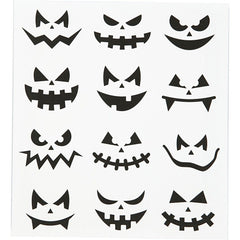 Motif Stickers, sheet 15x16.5cm, halloween - small faces, 1 sheet