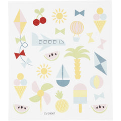 Stickers, sheet 15x16.5cm, approx. 25 pc, summer holiday, 1 sheet