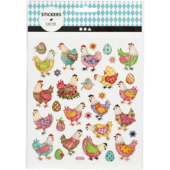 Stickers, sheet 15x16.5cm, approx. 31 pc, easter hens, 1 sheet
