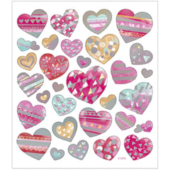 Stickers, sheet 15x16.5cm, 31 pc, hearts, 1 sheet