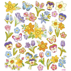 Stickers, sheet 15x16.5cm, 37 pc, flowers, 1 sheet