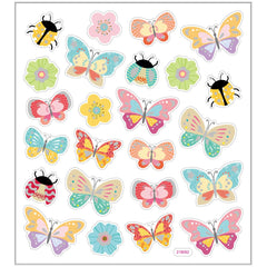 Stickers, sheet 15x16.5cm, 24 pc, butterflies and ladybirds, 1 sheet