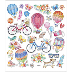 Stickers, sheet 15x16.5cm, 29 pc, bikes and hot air balloons, 1 sheet