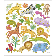 Stickers, sheet 15x16.5cm, 30 pc, safari animals, 1 sheet