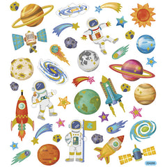 Stickers, sheet 15x16.5cm, 41 pc, space, 1 sheet