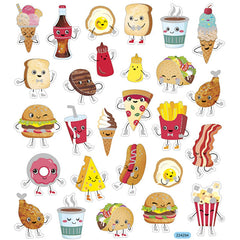 Stickers, sheet 15x16.5cm, 27 pc, fast food, 1 sheet