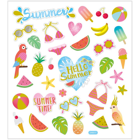 Stickers, sheet 15x16.5cm, 35 pc, summer holiday, 1 sheet