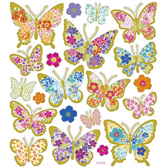 Stickers, sheet 15x16.5cm, 21 pc, butterflies, 1 sheet
